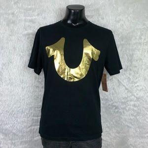 🆕 True Religion Black/Gold Horsehoe Tee (NWT)